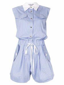 Comme Moi striped shirt playsuit - Blue
