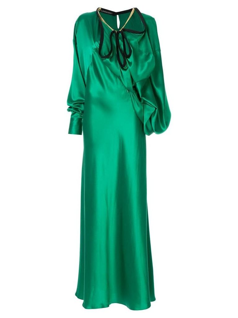 Y/Project satin long dress with big ruffle - Green