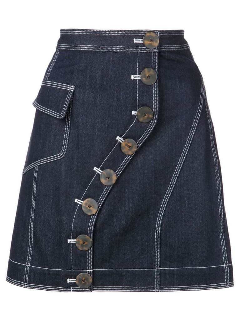 Acler button fastened denim skirt - Blue