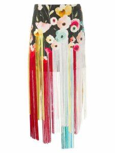 Elisabetta Franchi floral fringe skirt - Black
