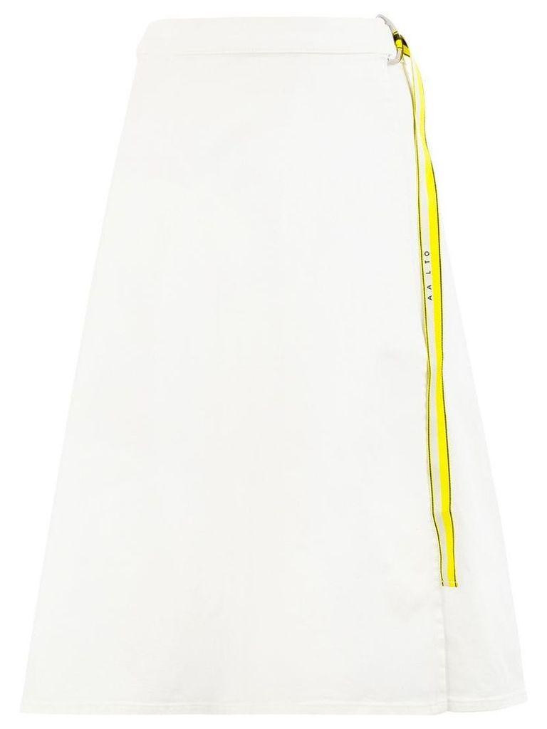 Aalto belted wrap denim skirt - White