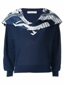 Cédric Charlier scarf embellished sweater - Blue