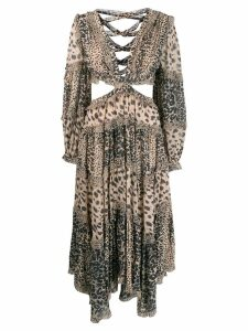 Zimmermann cut-out detail animal print dress - Neutrals