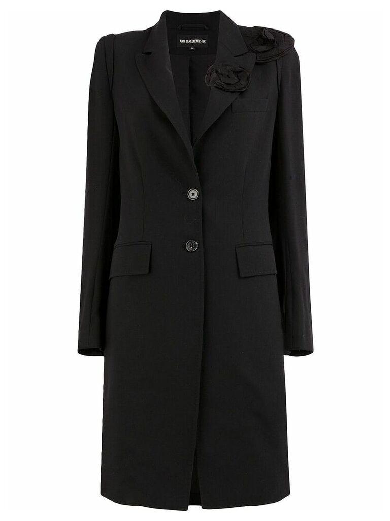 Ann Demeulemeester flower detailed overcoat - Black