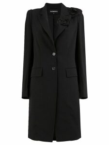 Ann Demeulemeester flower detailed overcoat - Black