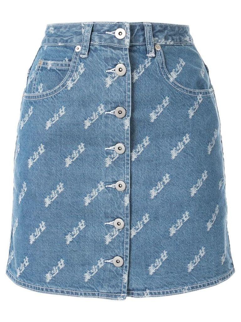 Ground Zero buttoned front denim skirt - Blue