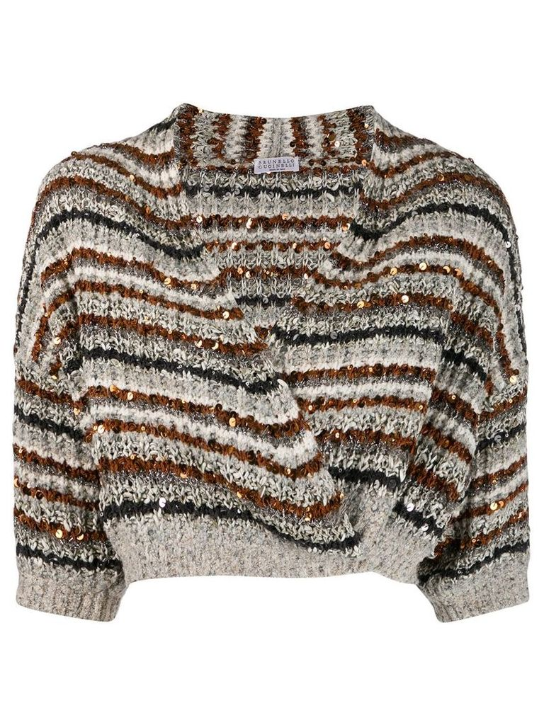 Brunello Cucinelli striped wrap knit top - Grey