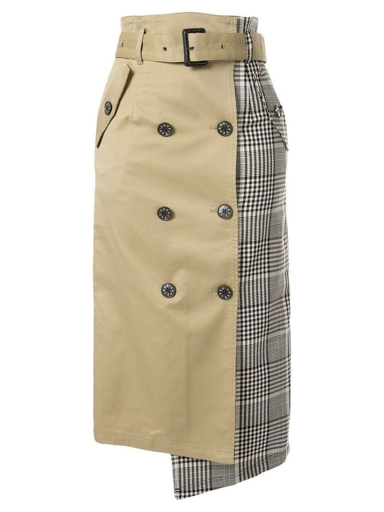 Loveless check panel midi skirt - Brown