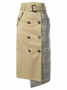 Loveless check panel midi skirt - Brown