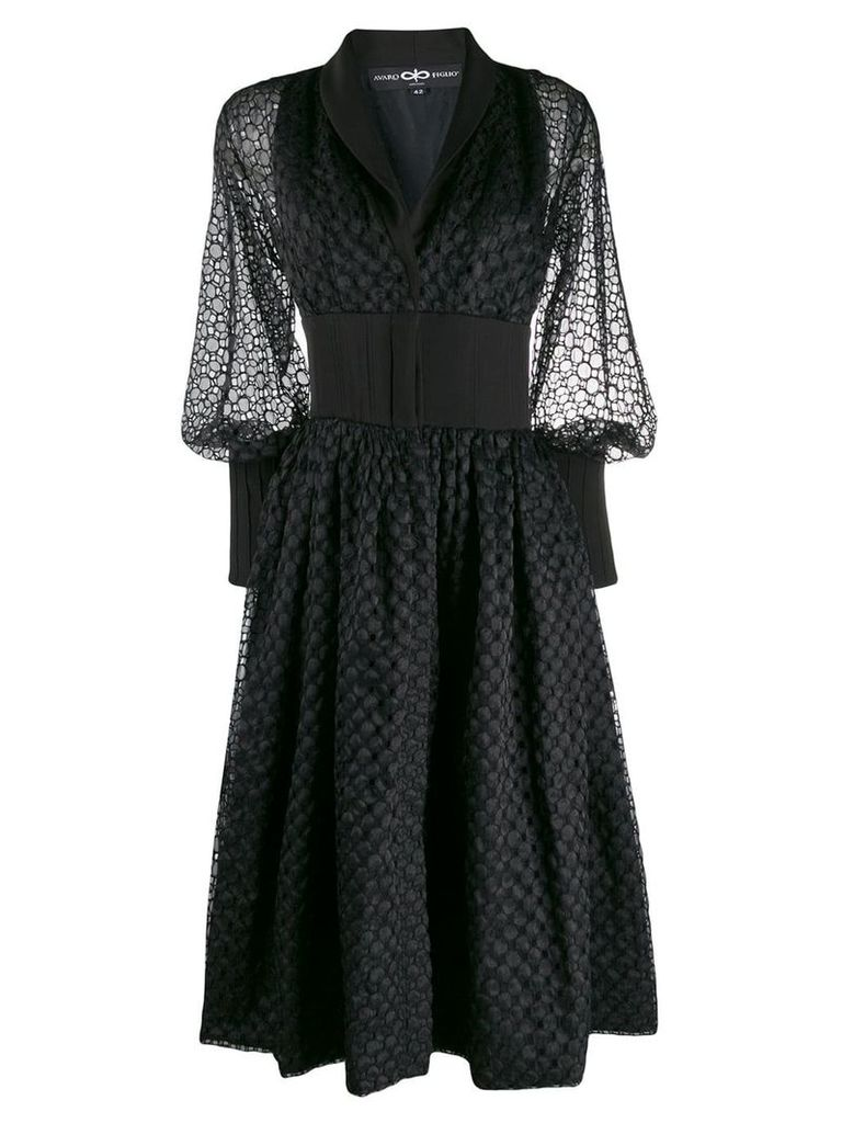 Avaro Figlio broderie anglaise flared dress - Black