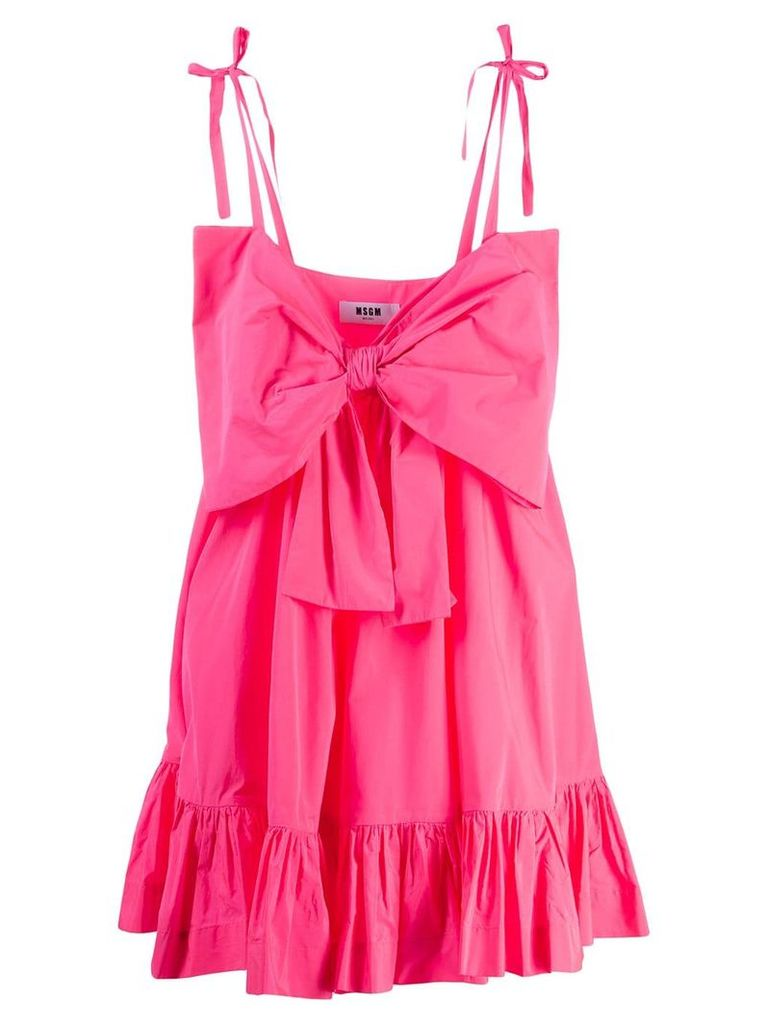 MSGM summer bow ruched dress - Pink