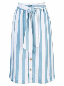 Closed striped a-line skirt - Blue