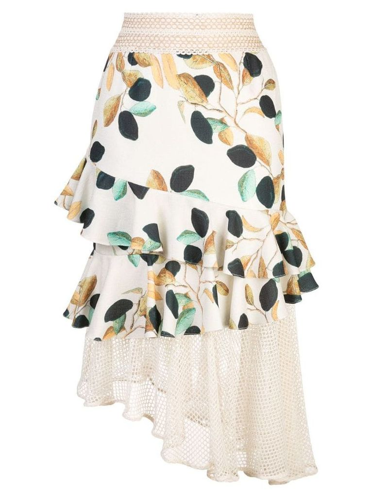 Patbo fruit print tiered skirt - Neutrals