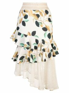 Patbo fruit print tiered skirt - Neutrals