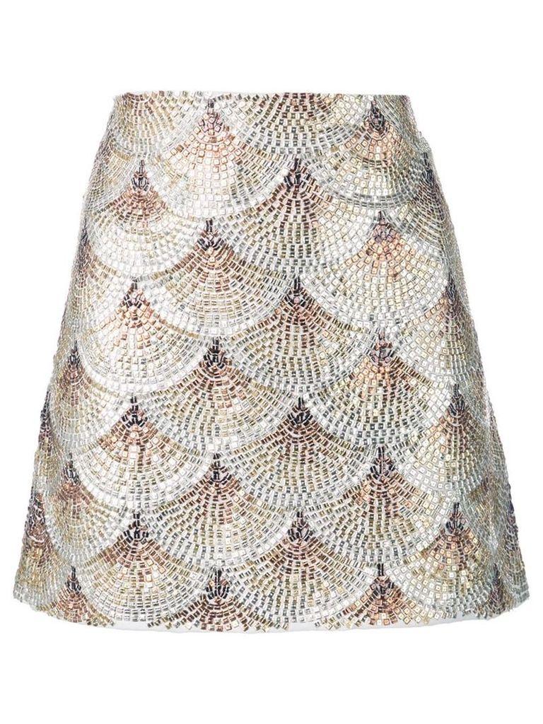 Oscar de la Renta embellished fan skirt - Gold