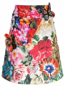 Dolce & Gabbana floral print embroidered skirt - White