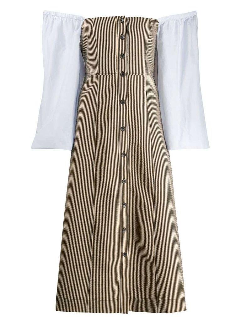 Ganni striped button dress - Neutrals