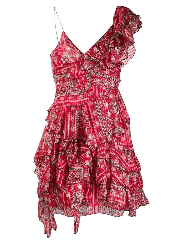 Isabel Marant asymmetric ruffle dress - Red