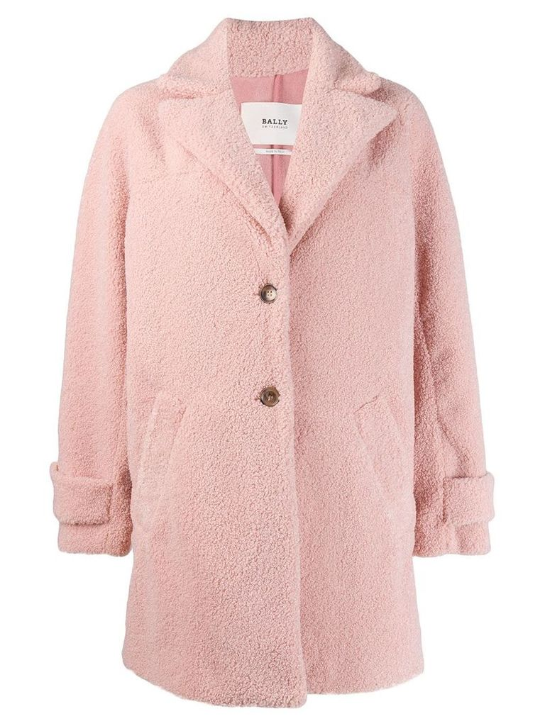 Bally textured single-breasted coat - Pink