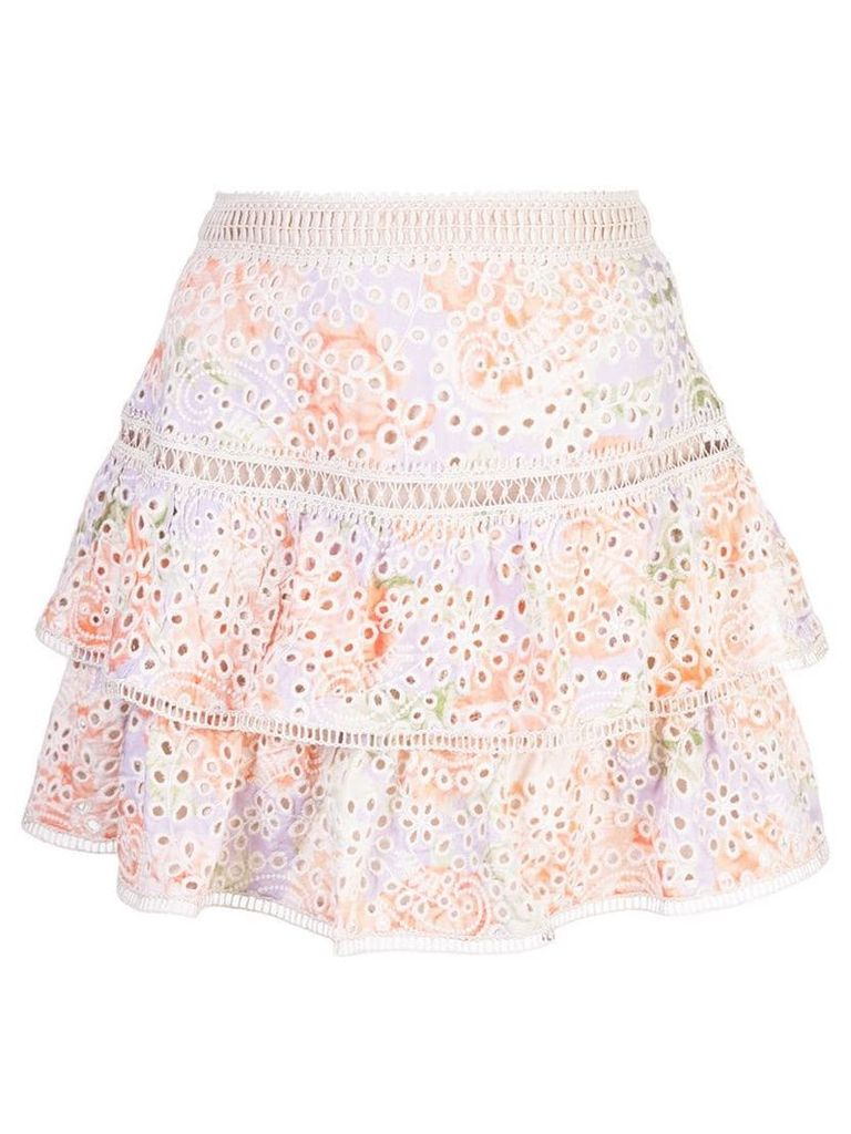 Alice+Olivia floral embroidered ruffle skirt - Multicolour