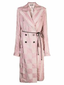 Ann Demeulemeester checked print coat - Pink