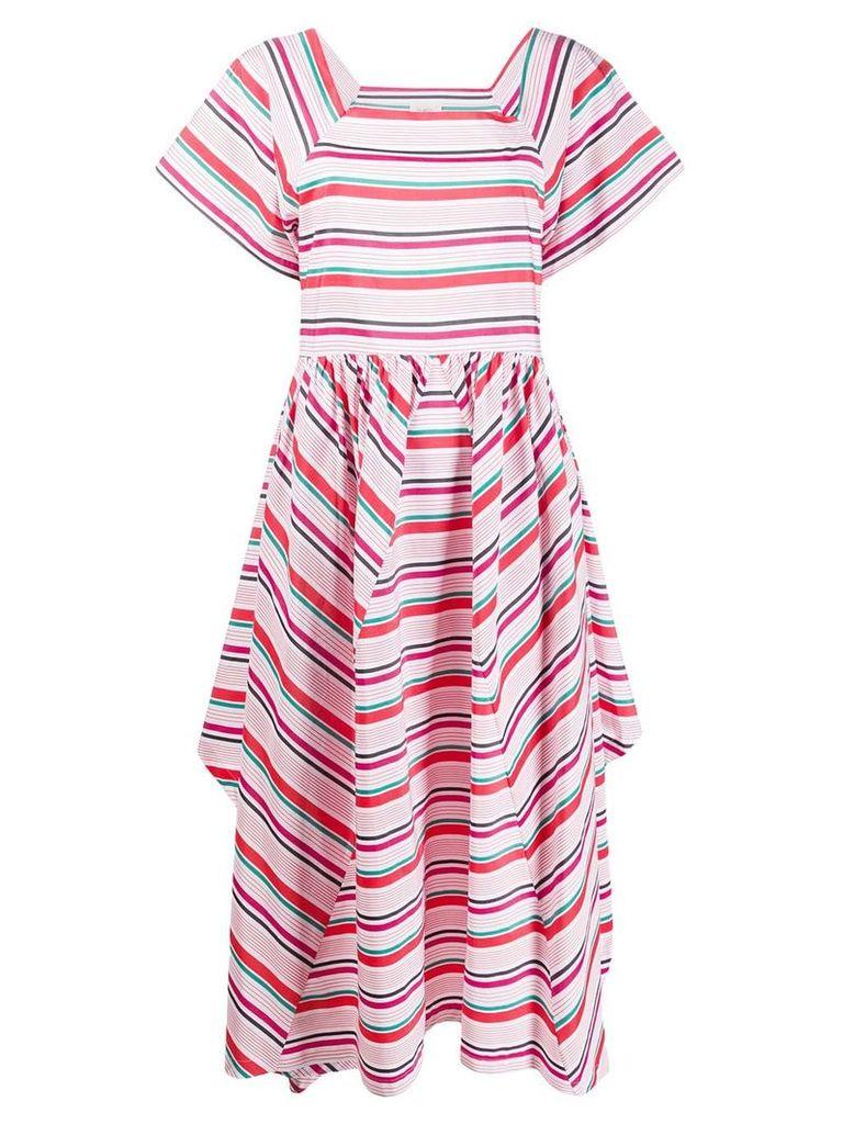 Isa Arfen Geranium striped dress - White