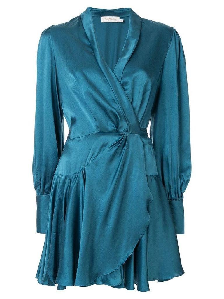 Zimmermann wrap tie-waist dress - Blue