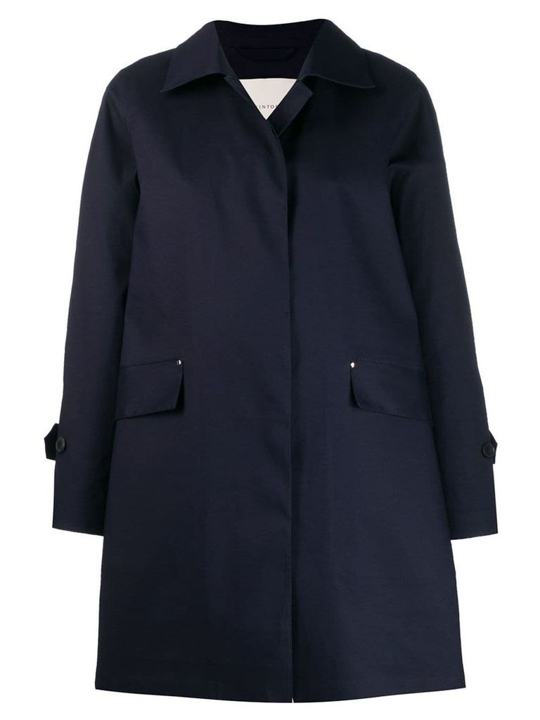 Mackintosh Navy Bonded Cotton Coat LR-094 - Blue