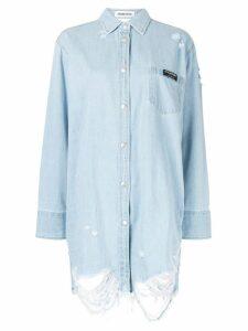 Ground Zero cut-out denim shirt - Blue
