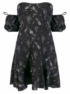 Chiara Ferragni bandeau feather print dress - Black