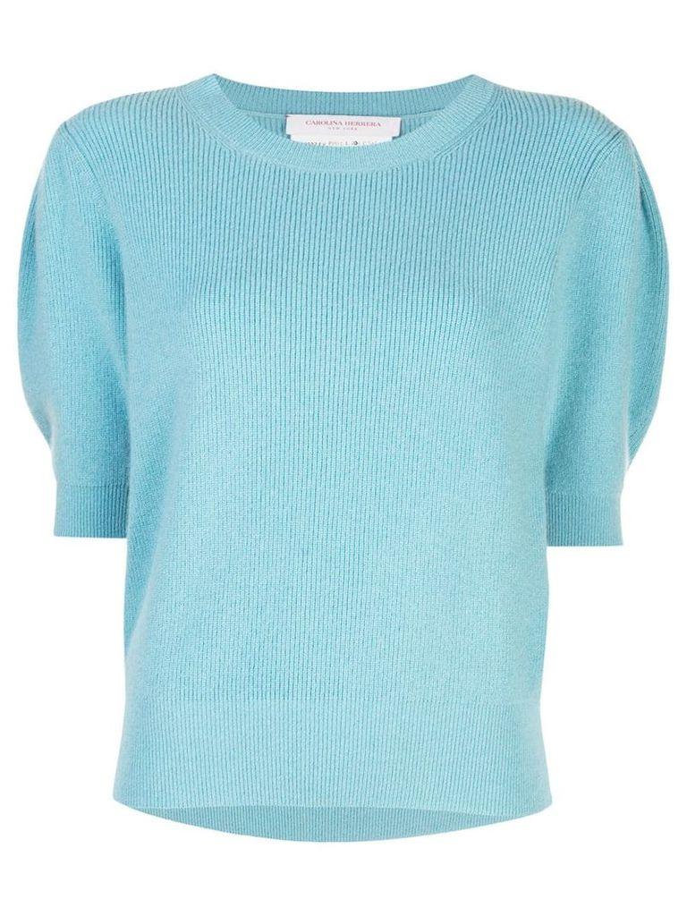 Carolina Herrera puff-sleeve knitted top - Blue