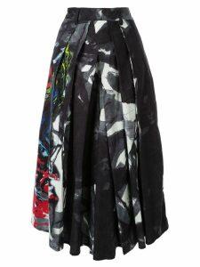 Yohji Yamamoto pleated print midi skirt - Black