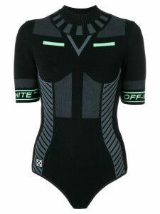 Off-White logo sleeve bodysuit - Black