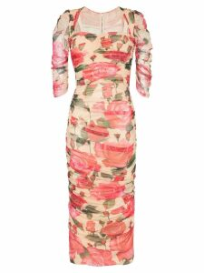 Dolce & Gabbana floral print ruched dress - Pink