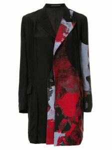 Yohji Yamamoto printed longline blazer - Black