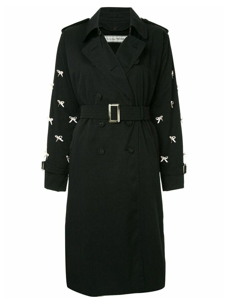 Tu es mon TRÉSOR Petit ribbon trench coat - Black