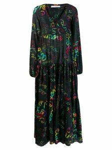 Giada Benincasa handwriting print flared dress - Black