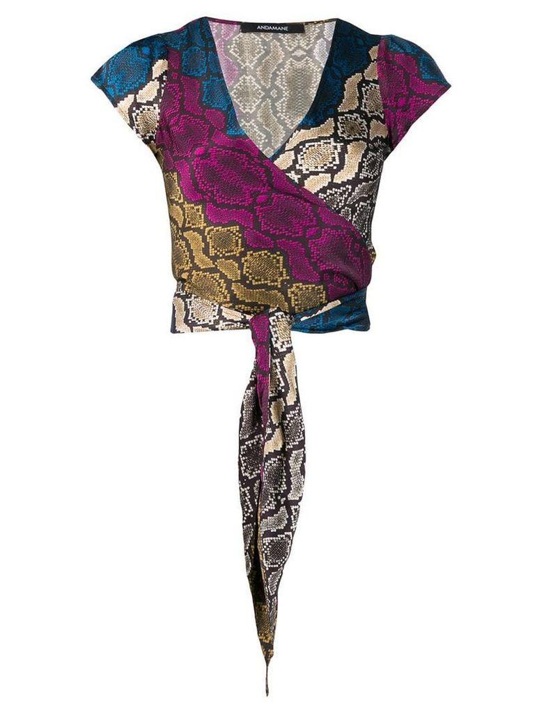 Andamane snakeskin print wrap top - Black