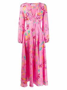 Giada Benincasa handwriting print empire dress - Pink