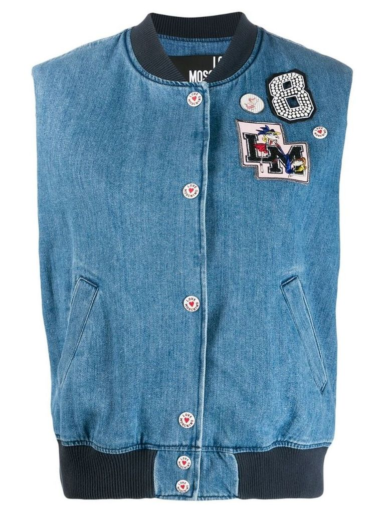 Love Moschino logo patches bomber vest - Blue