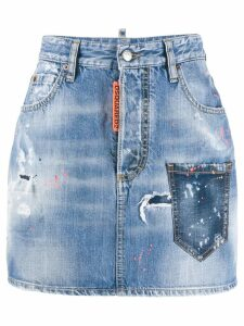 Dsquared2 paint splatter denim skirt - Blue