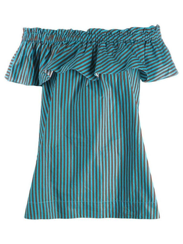 P.A.R.O.S.H. striped billowing bardot top - Blue