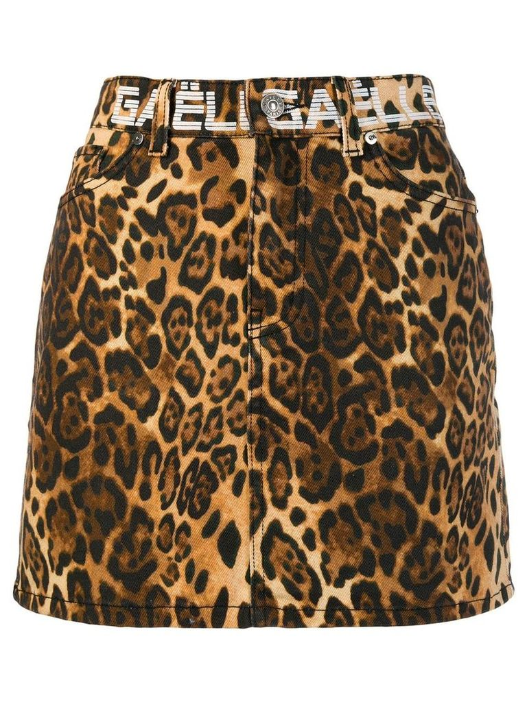 Gaelle Bonheur straight-cut animal print skirt - Brown
