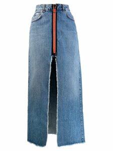 Gaelle Bonheur long A-line denim skirt - Blue