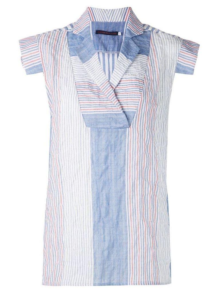 Harvey Faircloth panelled blouse with bollar - Blue