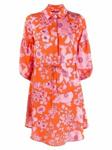 Guardaroba midi shirt dress with floral print - Orange