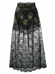 Paco Rabanne floral lace skirt - Black