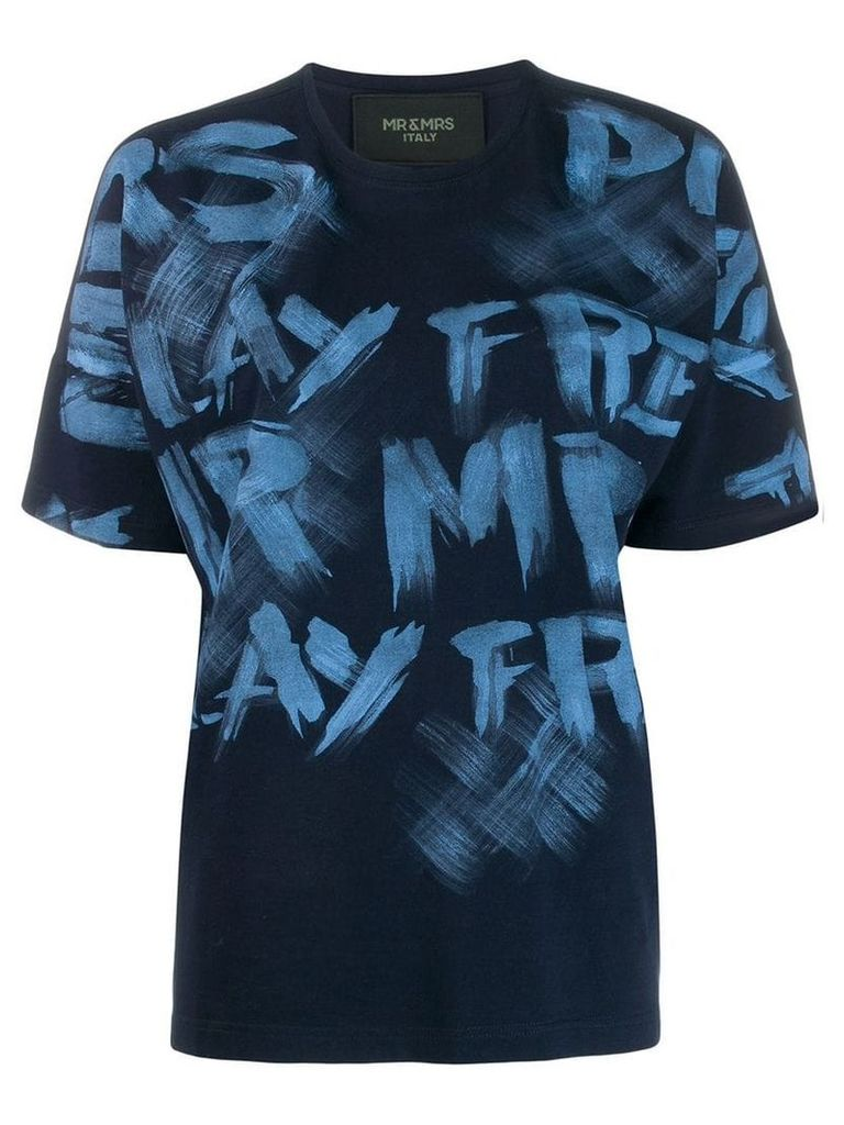 Mr & Mrs Italy painted T-shirt - Blue
