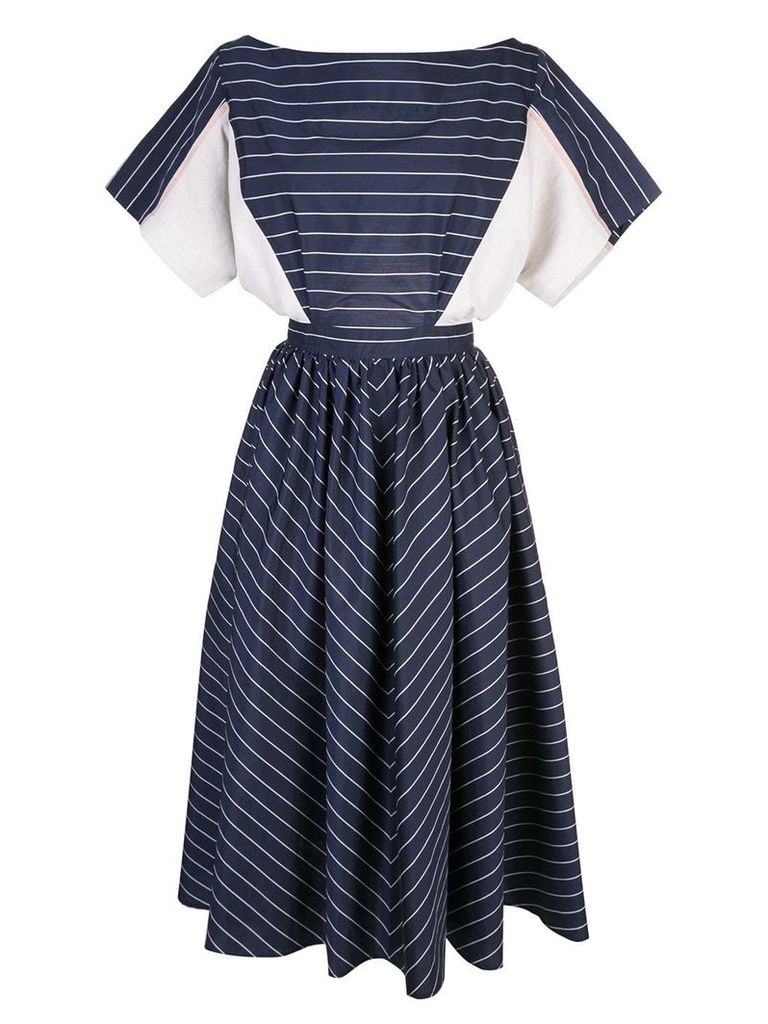 Tome striped flared dress - Blue