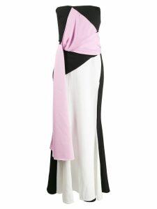Avaro Figlio colour block strapless dress - Black